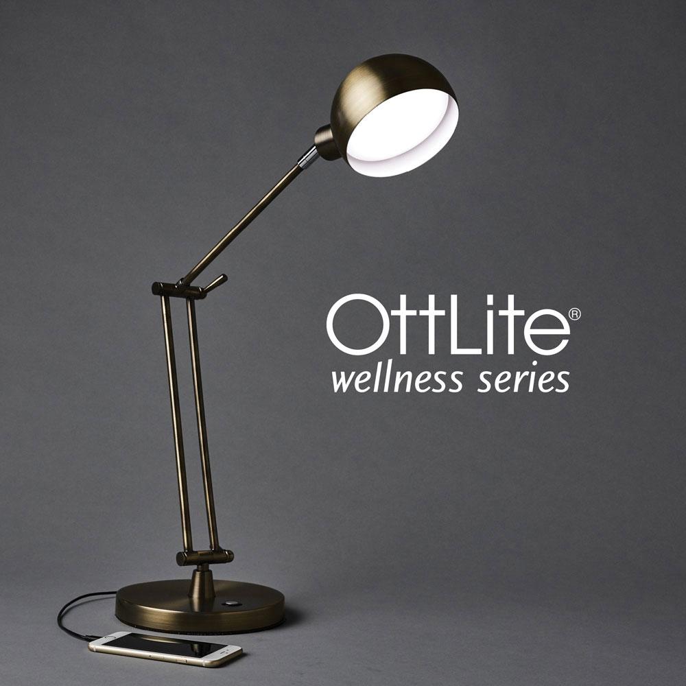 Ott-Lite Refine LED Desk Lamp - Brass