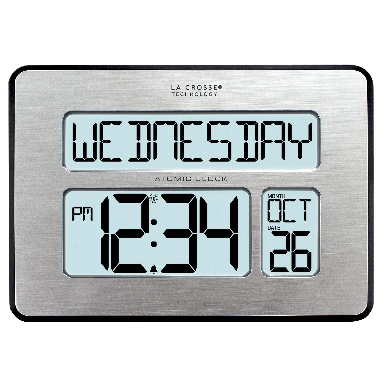 Atomic Digital Wall Clock with Backlight for Low Vision- 2in. Display