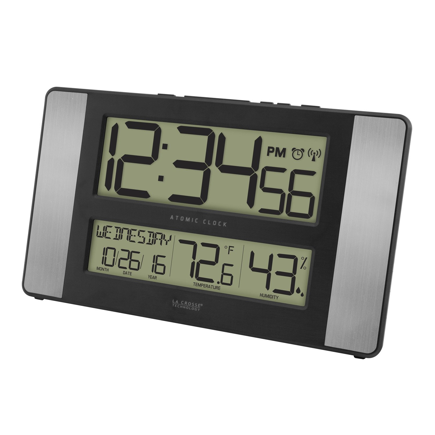 Atomic Digital Wall Clock with Indoor Temp and Humidity for Low Vision