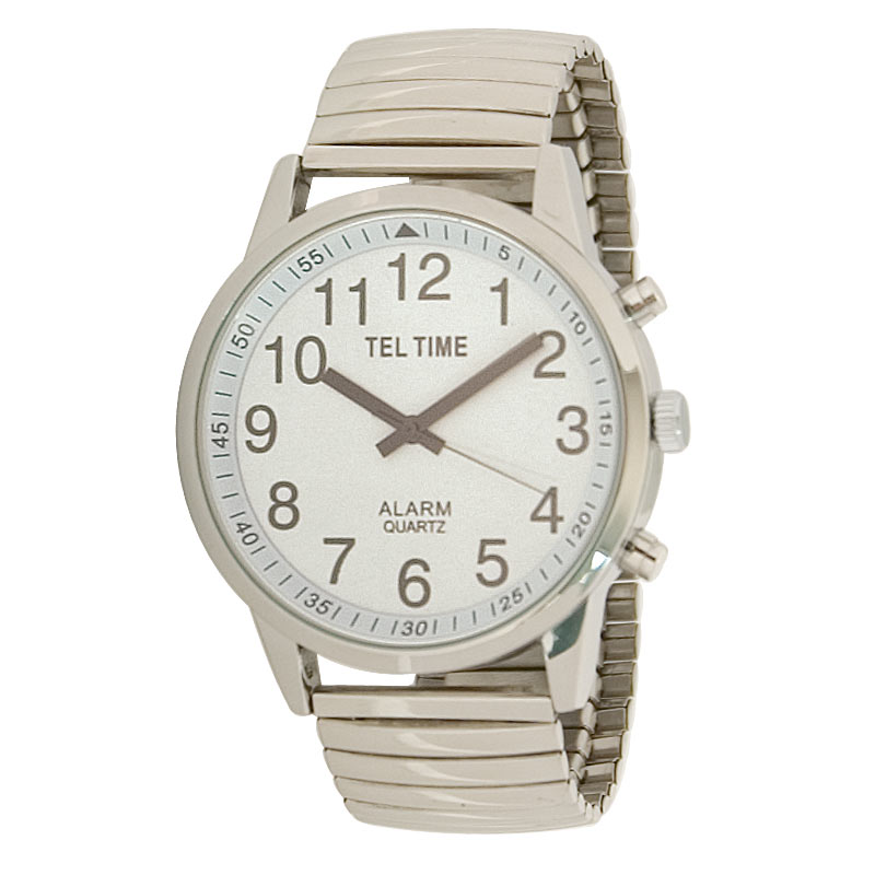 Mens Touch Talking Watch - Extra Large Chrome - Expansion Band
