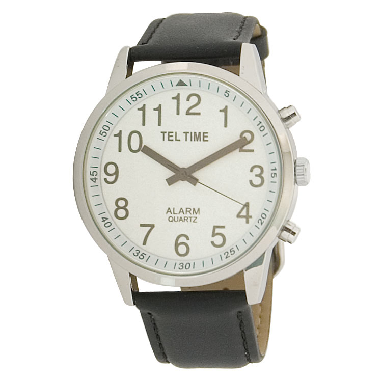 Mens Touch Talking Watch - Extra-Large Face - Leather Band - English