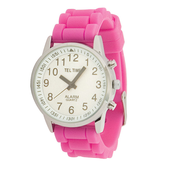 Ladies Touch Talking Watch- Large Face- Pink Rubber Band- Spanish