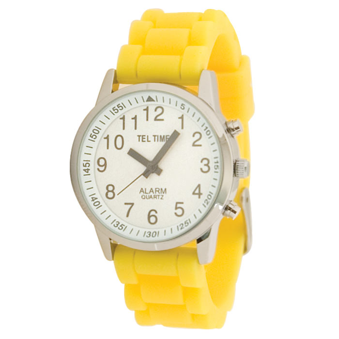 Ladies Touch Talking Watch - Large Face - Yellow Rubber Band