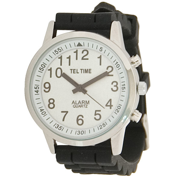 Mens Touch Talking Watch - Large Face - Black Rubber Band - Spanish