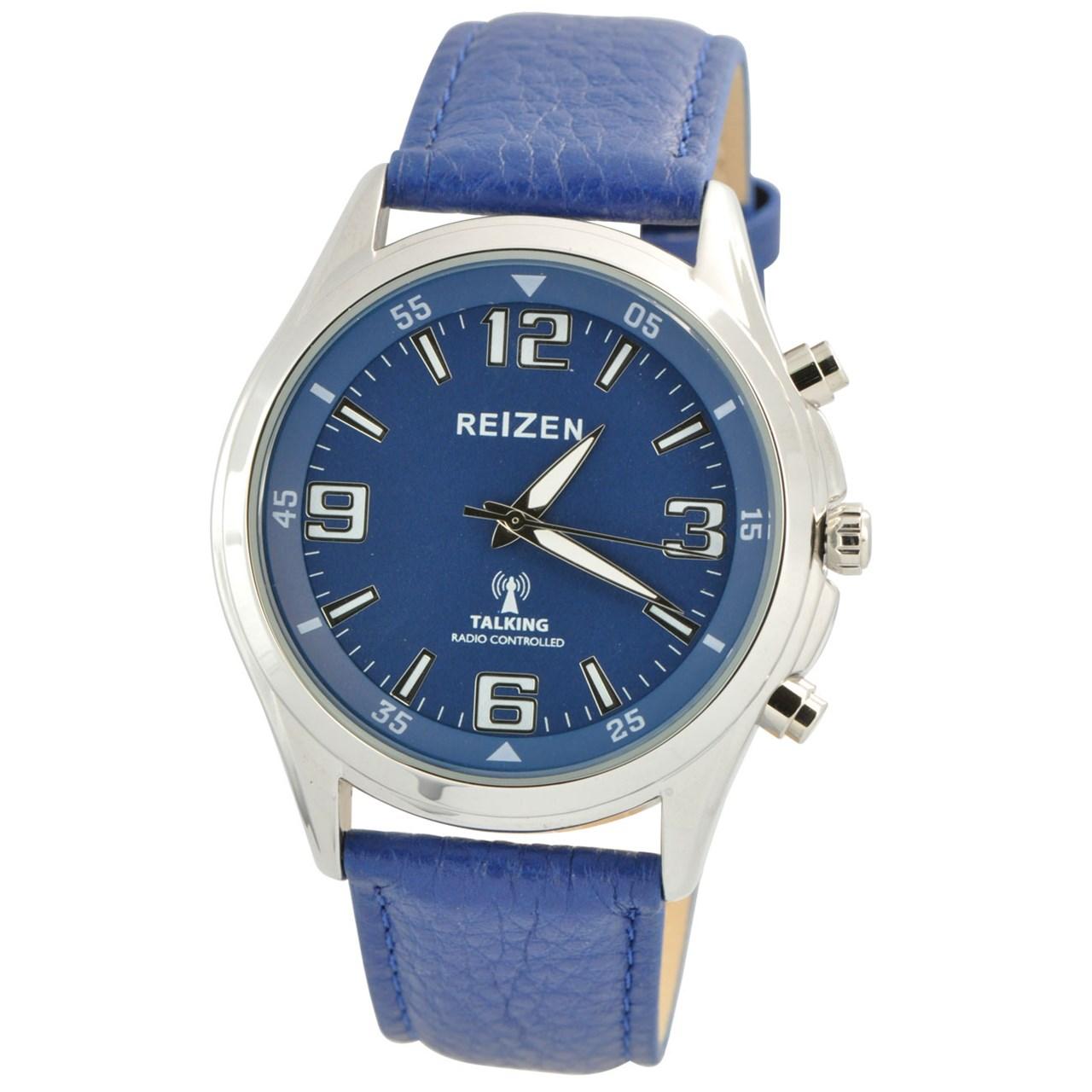 Reizen Talking Atomic Blue Dial Chrome Watch - Blue Leather Band