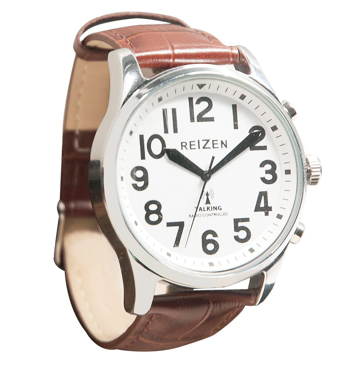 Reizen Big Face Talking Atomic Watch - Embossed Brown Leather Band
