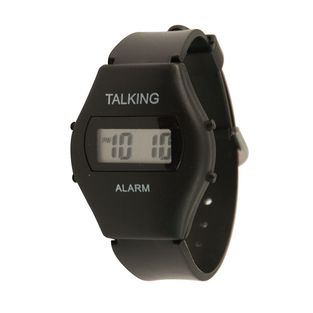 Childrens Kids Talking Watch - Black Plastic Band - English