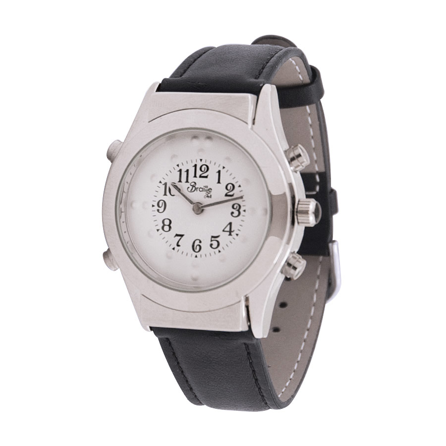 Mens Chrome Braille Talking Watch -English- White Dial + Leather Band