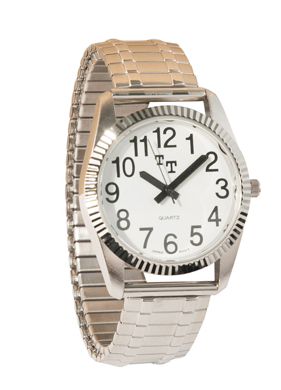 Mens Chrome Low Vision White Watch Face- Chrome Expansion Band