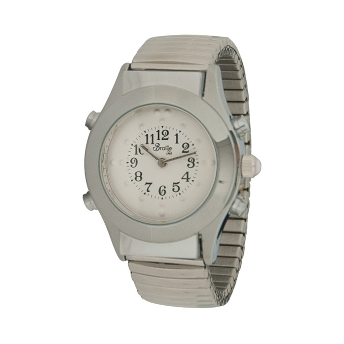 Womens Chrome Braille Talking Watch-Spanish-White Dial Expansion Band