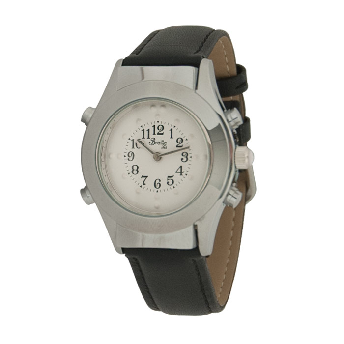 Womens Chrome Braille Talking Watch-Spanish-White Dial + Leather Band