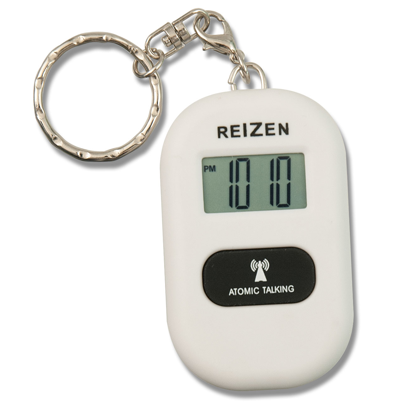 Reizen Talking Atomic Watch Keychain- White
