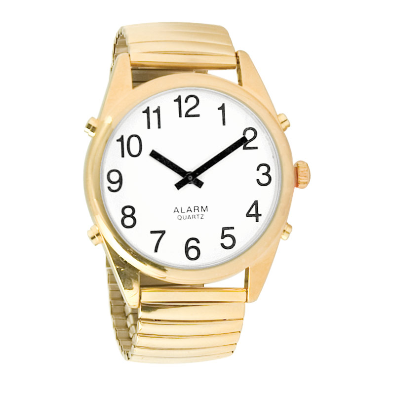 Reizen Gold-Tone Talking Extra-Large Face Watch - Exp Band - Unisex