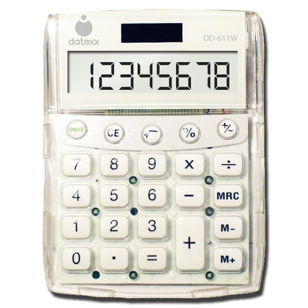 White Big Number Dual-Power Desktop Calculator