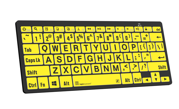 PC Bluetooth Mini Keyboard- Large Print Black on Yellow