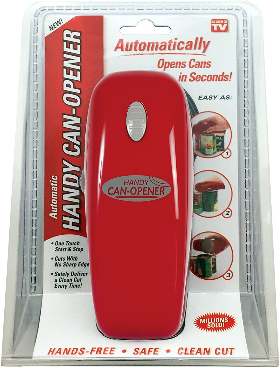 One Touch Hands Free Automatic Can Opener- Red