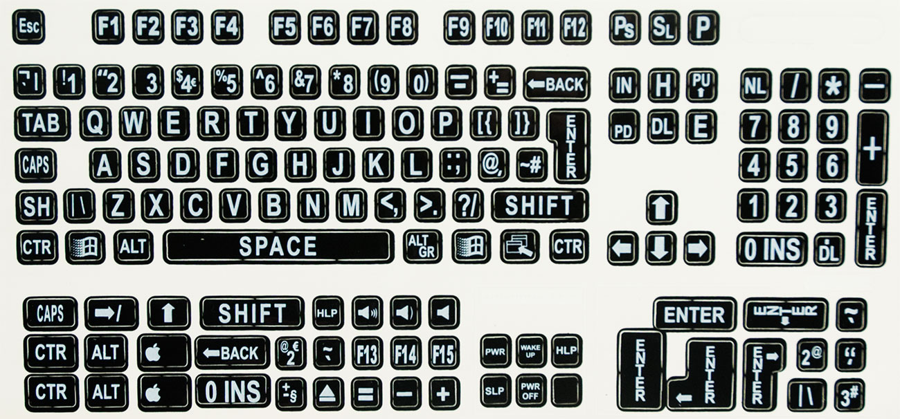 Large Print Labels for Computer Keyboards - White On Black