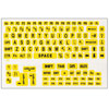 Large Print Labels for Laptop Computers - Black-Yellow