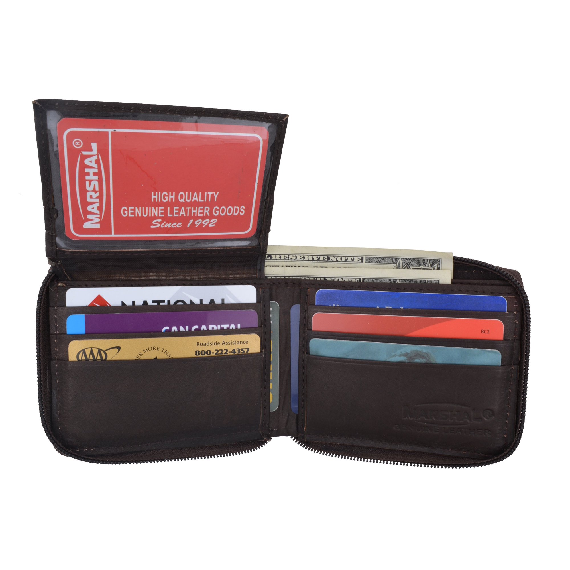 Zippered Leather Wallet- Brown