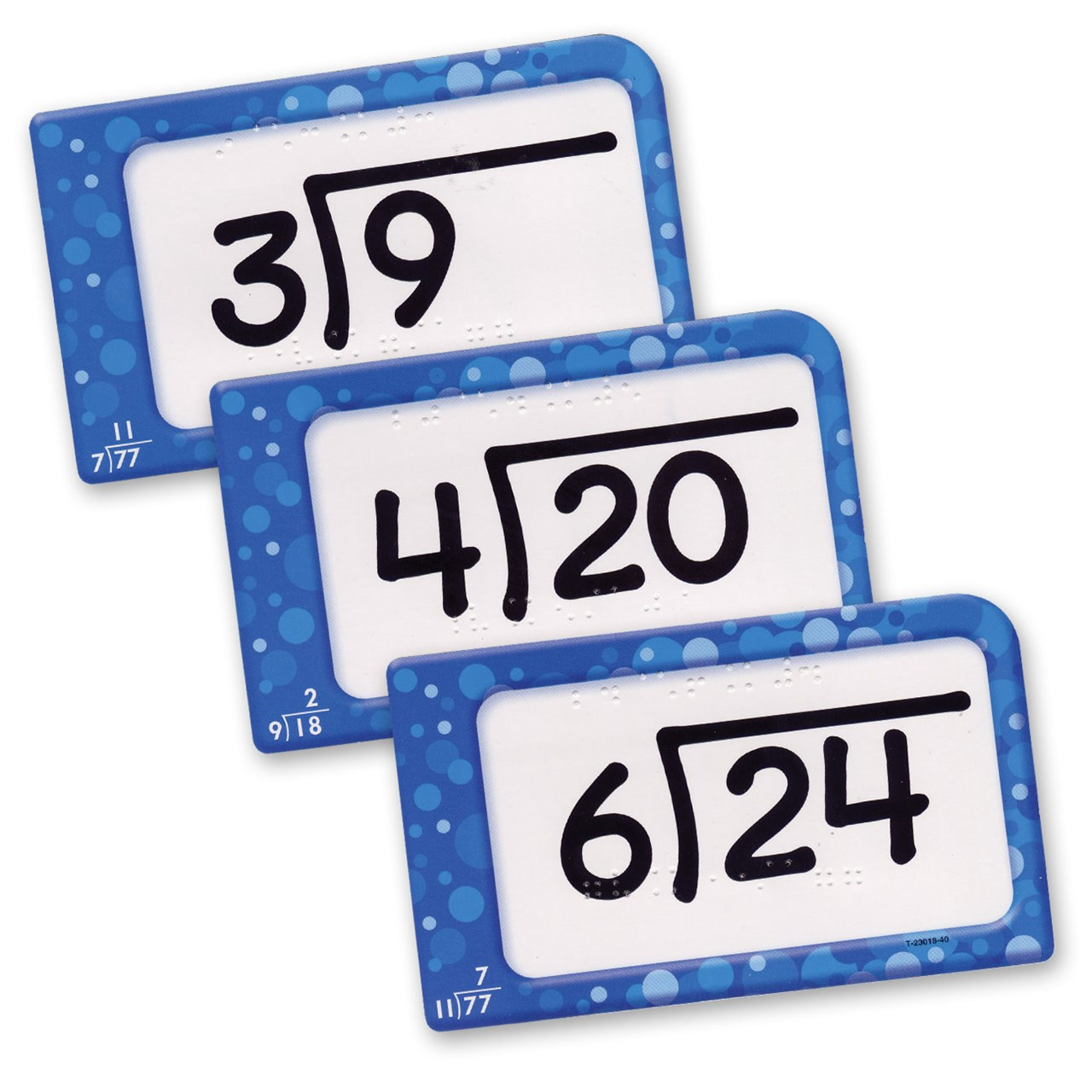 Division Pocket Flash Cards with Braille