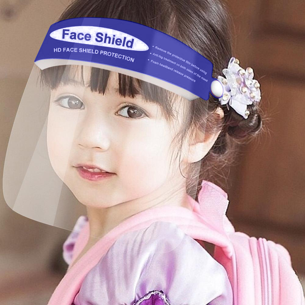 Childrens Blue Reusable and Washable Face Shield with Clear Window
