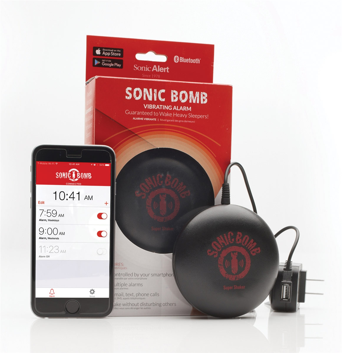 Sonic Bomb Bluetooth Super Shaker Vibrating Alarm - AC-Powered