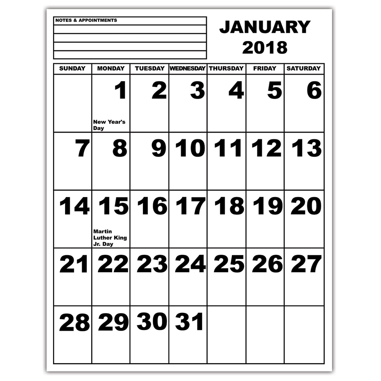 Jumbo Print Calendar - 2018