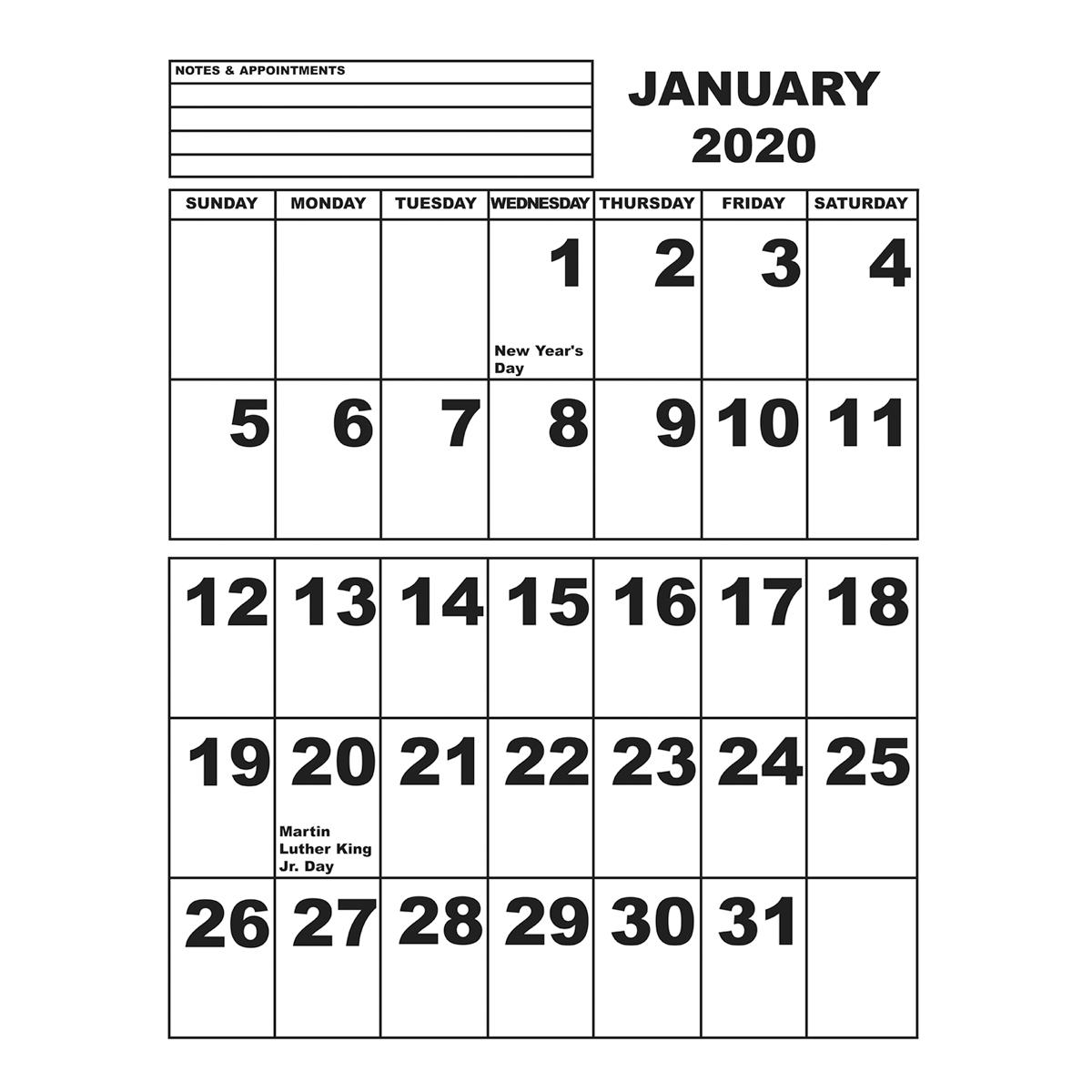 Jumbo Print Calendar - 2020