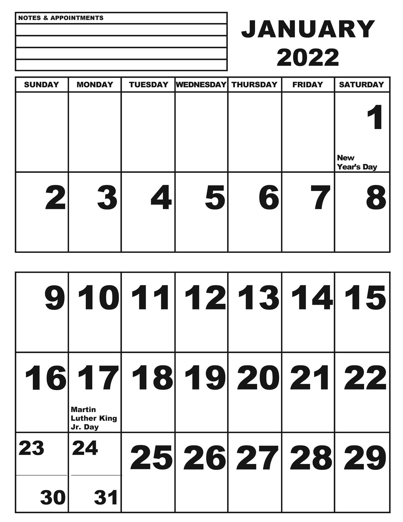 Jumbo Print Calendar- 2022