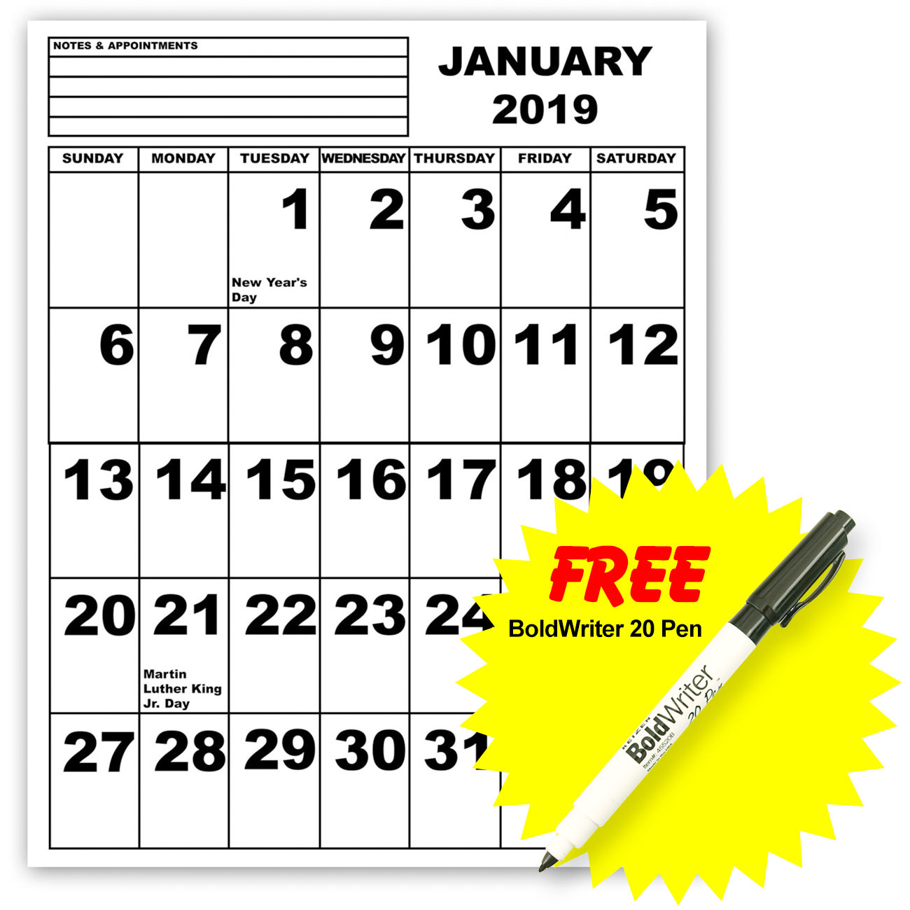 Jumbo Print Calendar - 2019 with BoldWriter 20 Pen