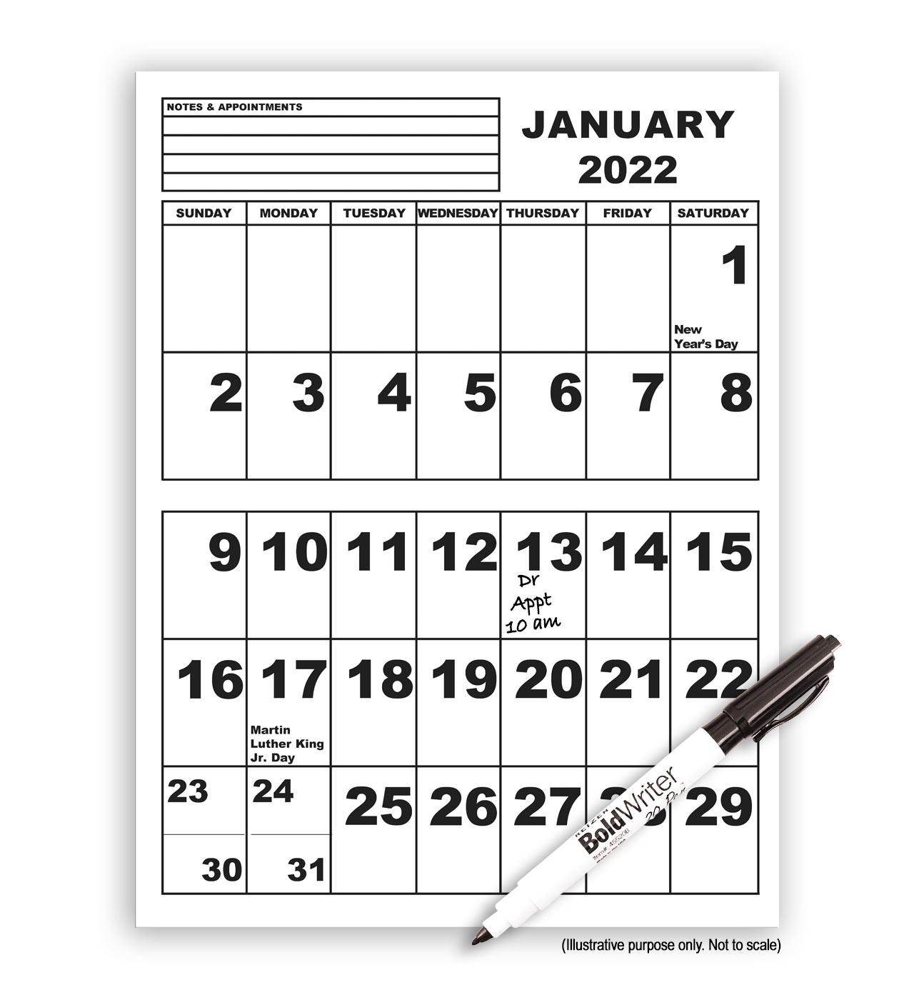 Jumbo Print Calendar with Pen- 2022