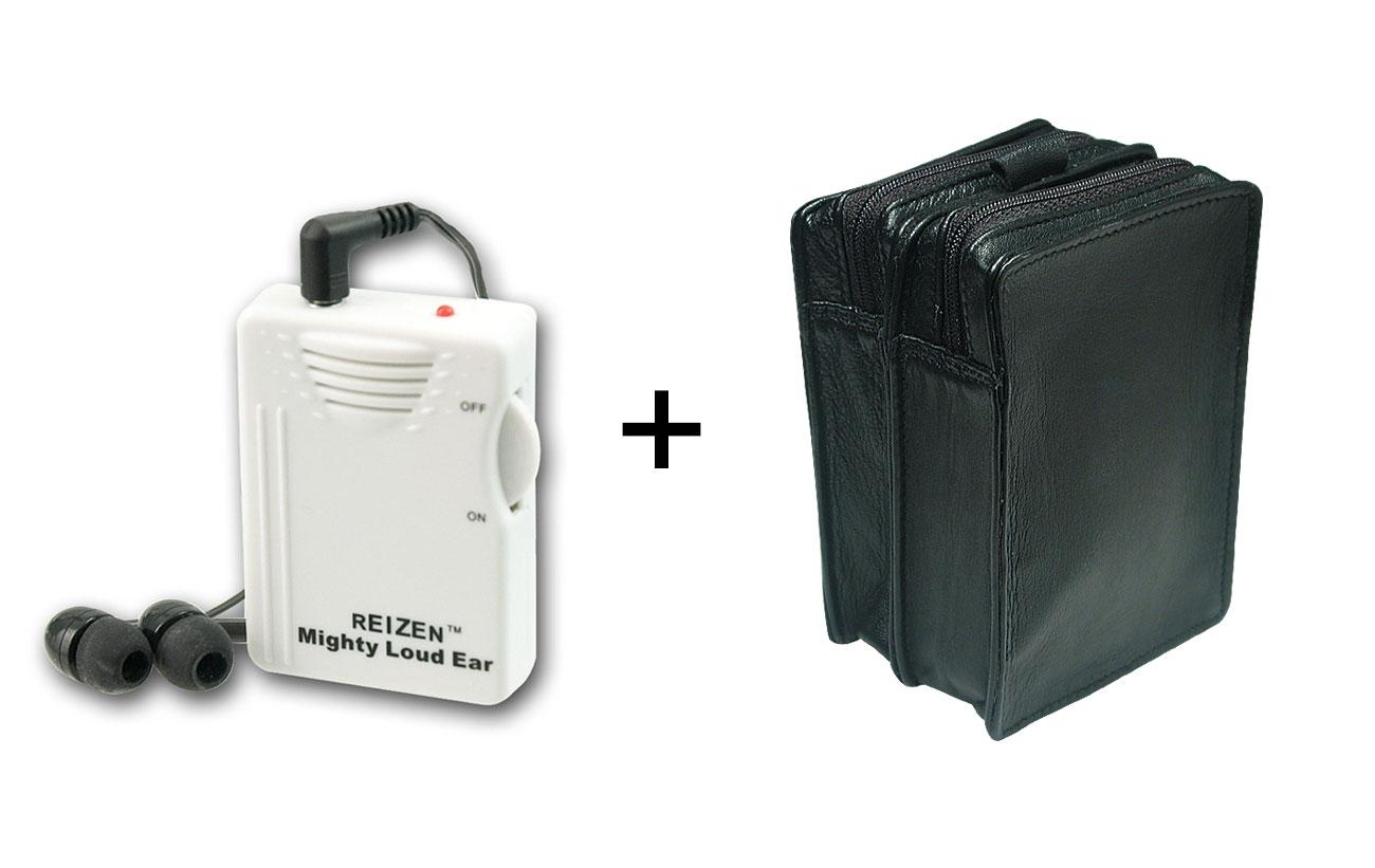 Reizen Mighty Loud Ear 120dB Amplifier + Leather Case -MaxiAids Bundle