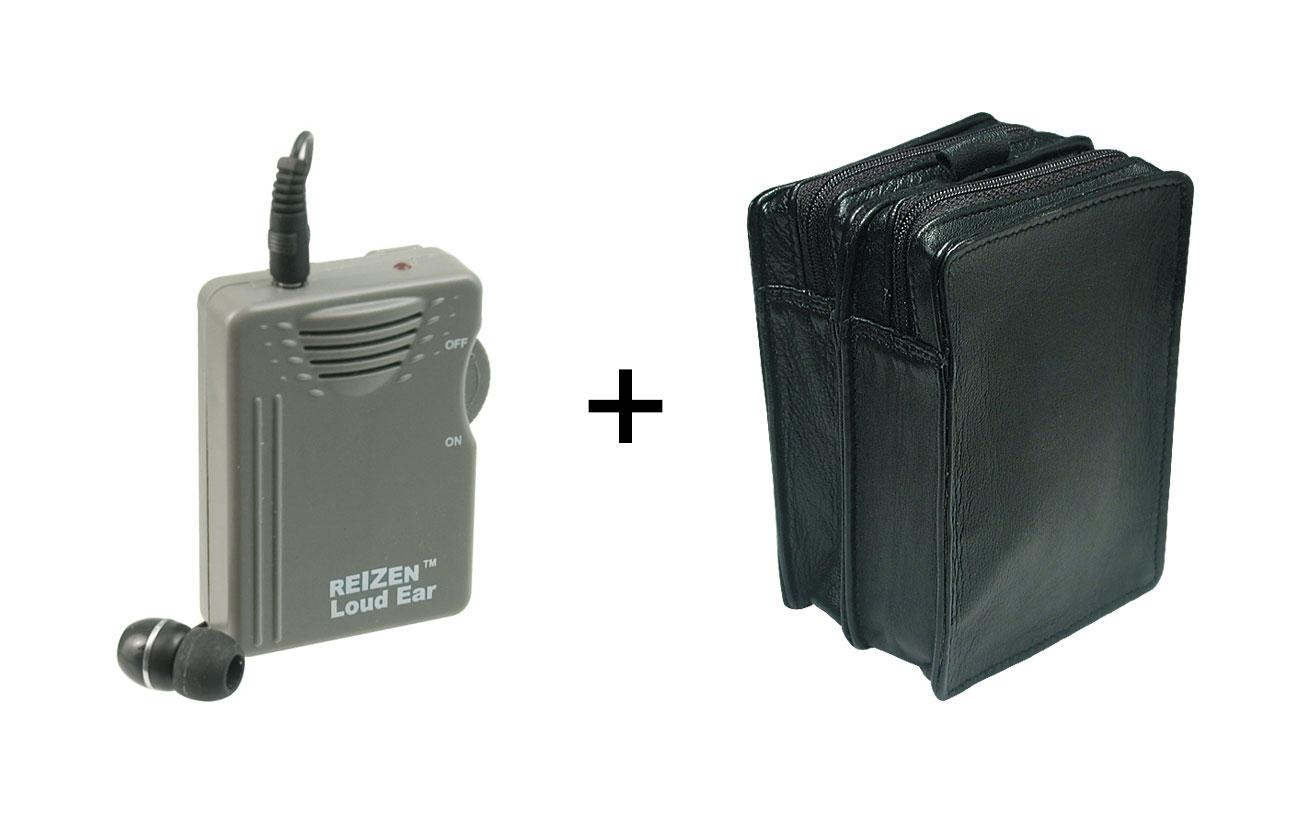 Reizen Loud Ear 110dB Amplifier + Leather Case - MaxiAids Bundle