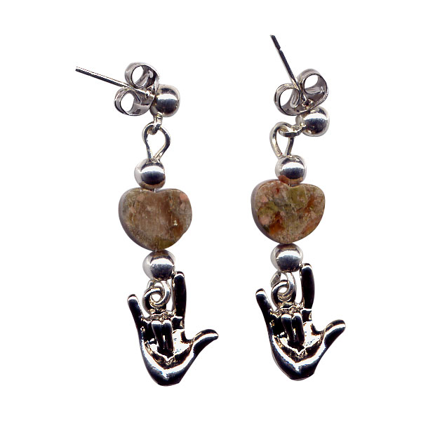 I Love You Hand Sign and Marbled Heart Bead Dangle Earrings