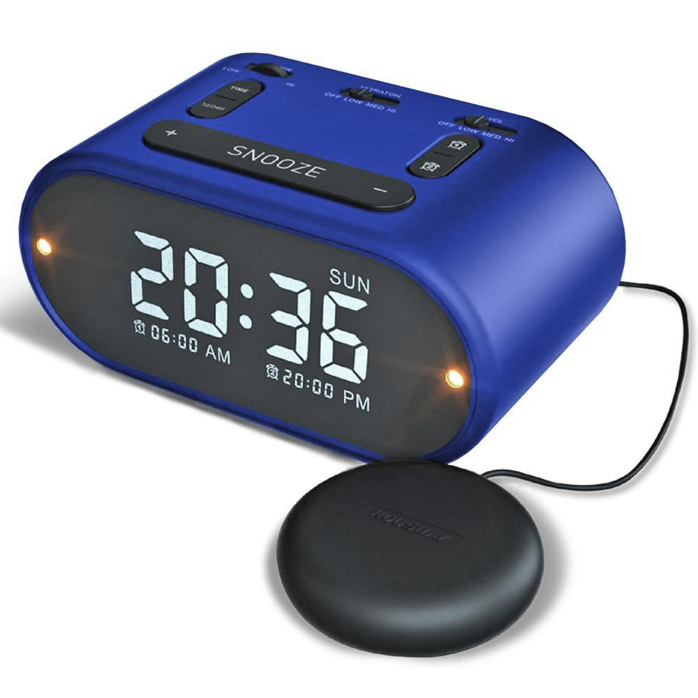 USB Alarm Clock w Vibrating (Soft-Med-Strong)- Blue
