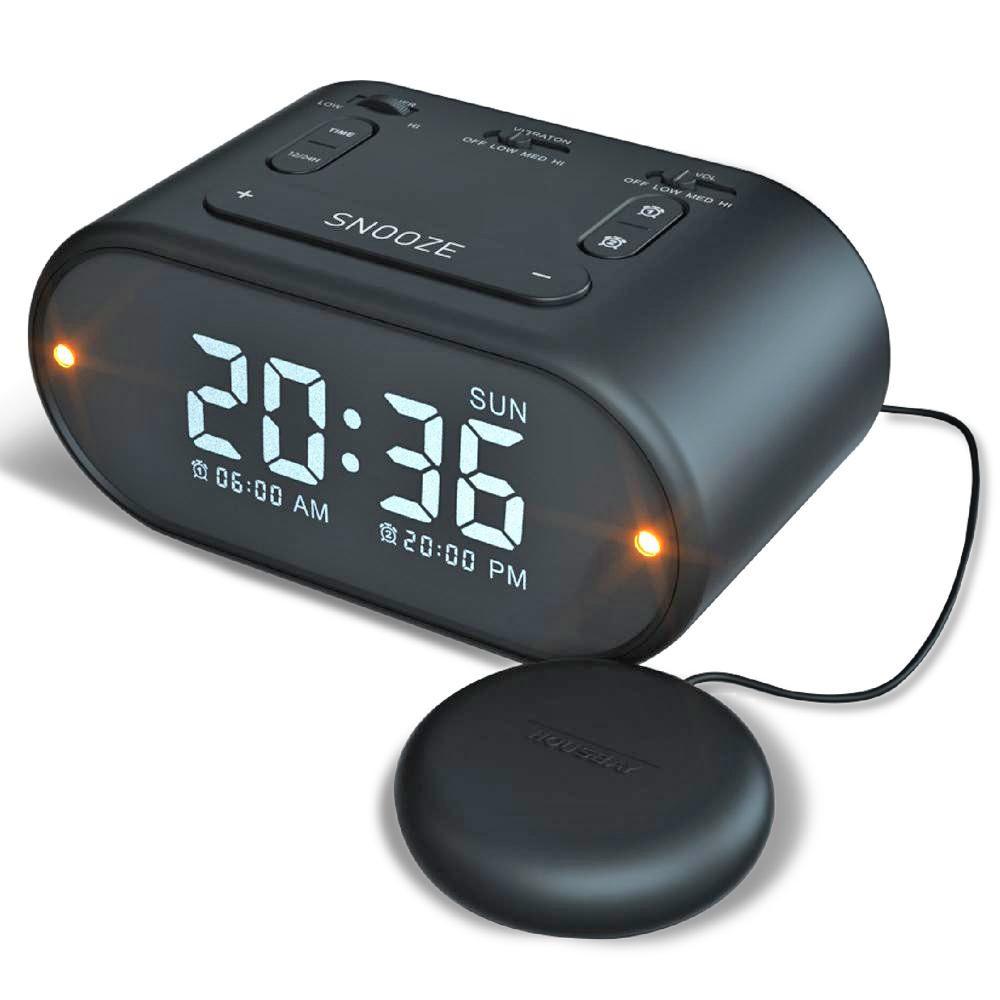 USB Alarm Clock w Vibrating (Soft-Med-Strong)- Black