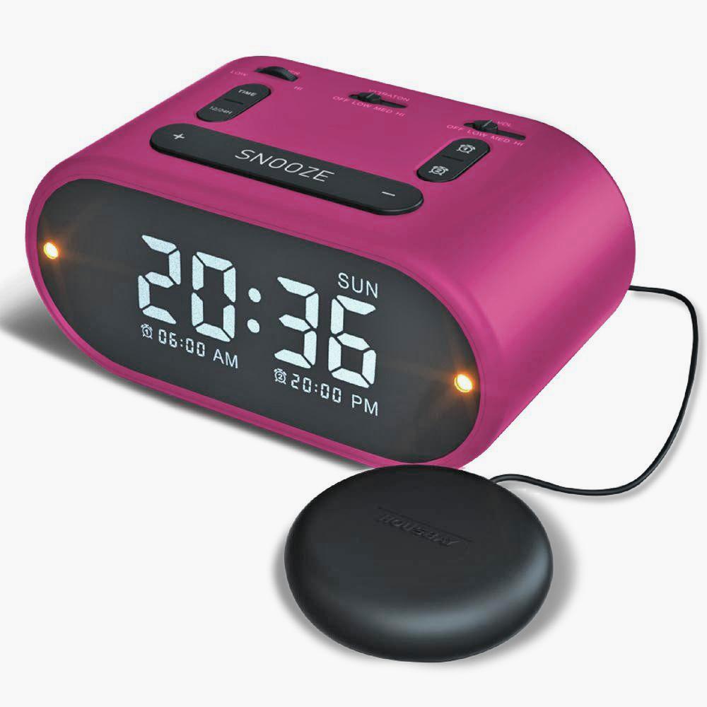 USB Alarm Clock w Vibrating (Soft-Med-Strong)- Pink