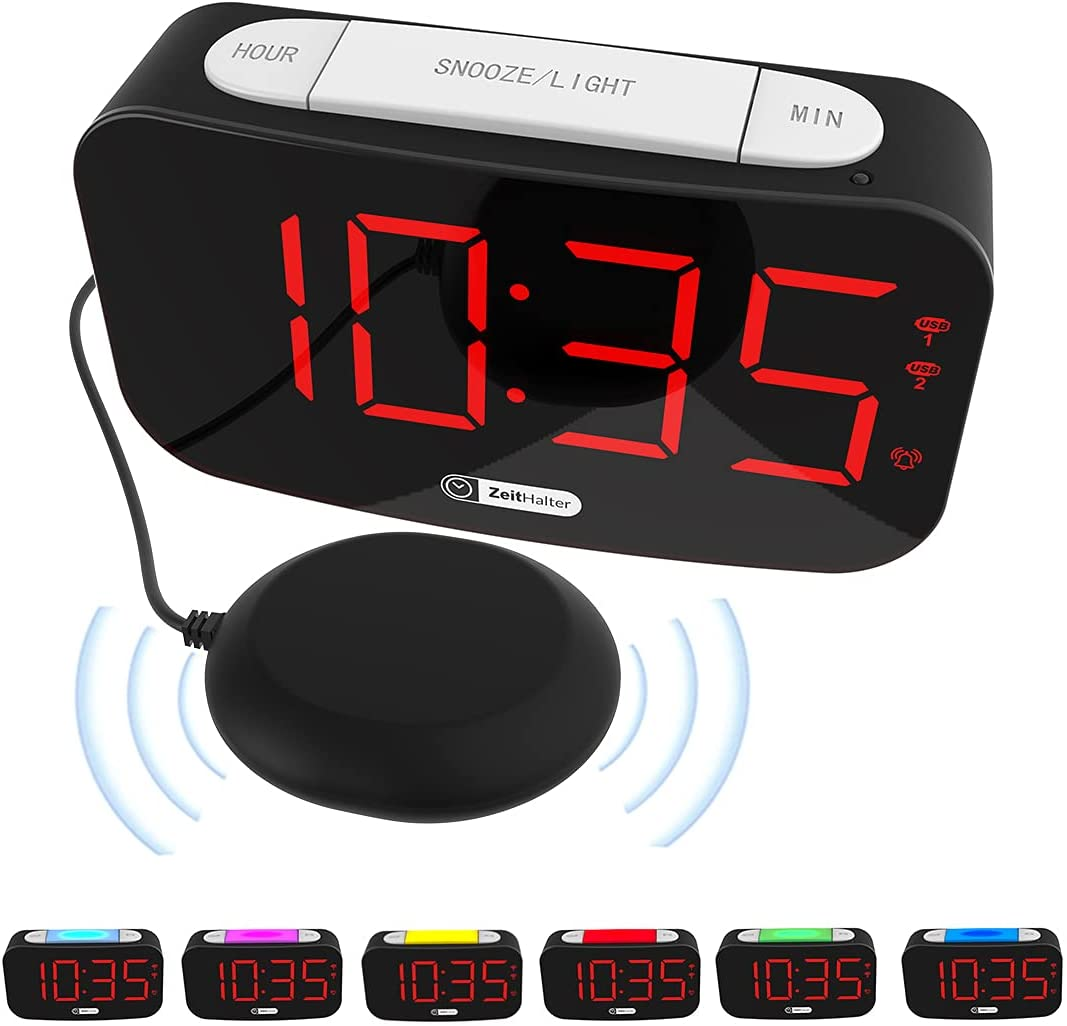Low Vision Vibrating Alarm Clock w Bed Shake w 7 Auto Dimmer Color