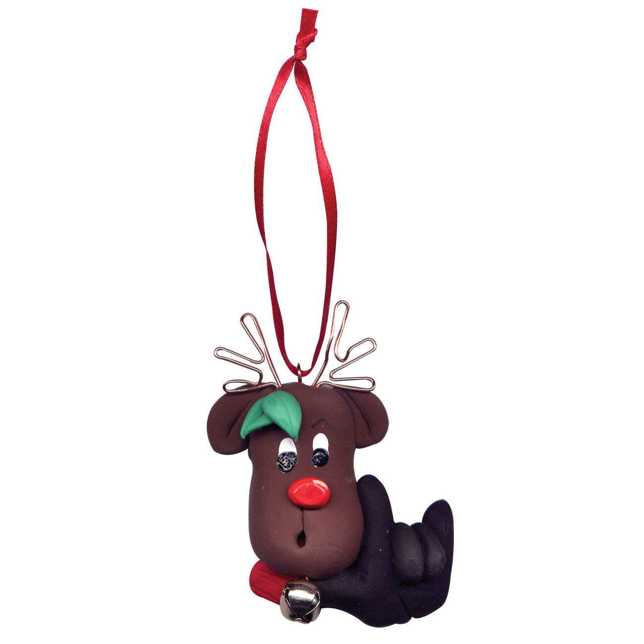 Reindeer Christmas Tree Ornament Hand Signs I Love You