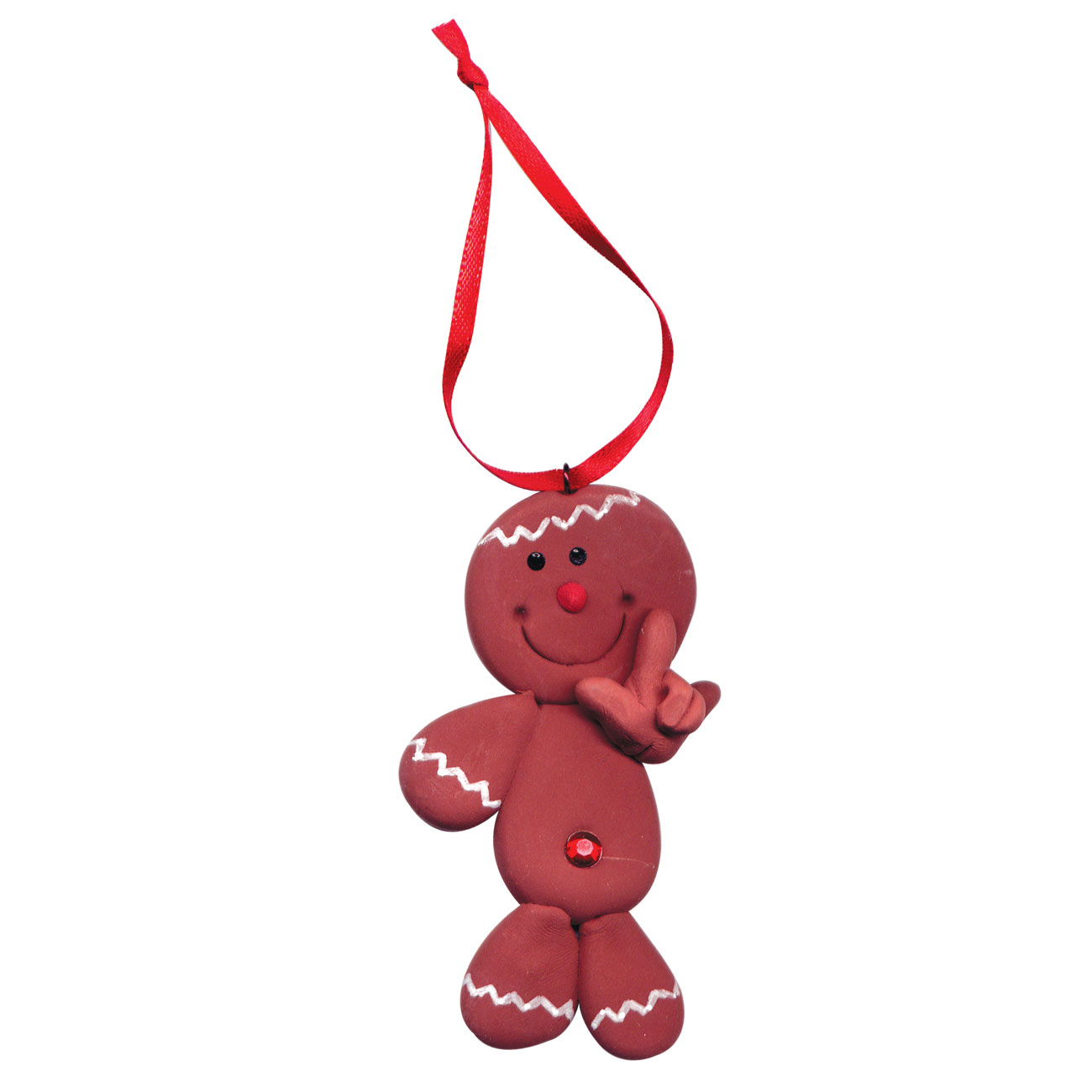 Gingerbread Man Christmas Tree Ornament Hand Signs I Love You