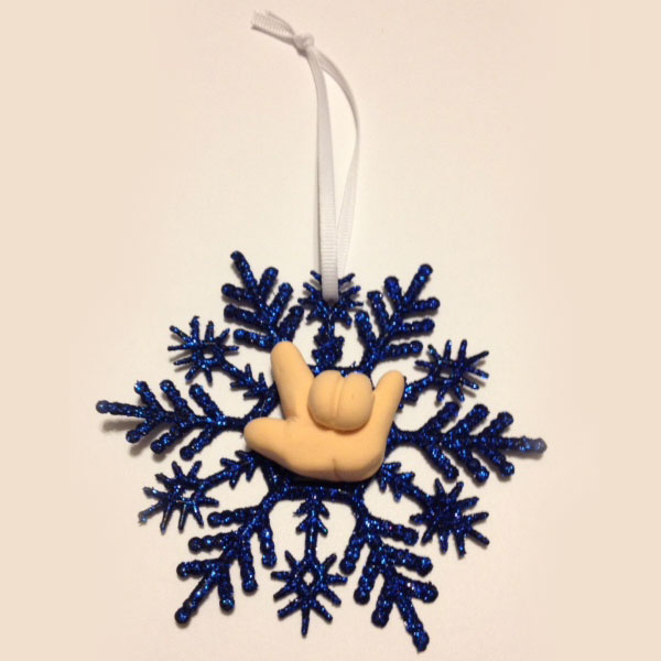 Snowflake Ornament with Hand Signing ILY - Blue