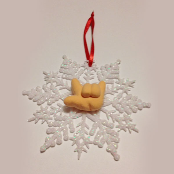 Snowflake Ornament with Hand Signing ILY - White