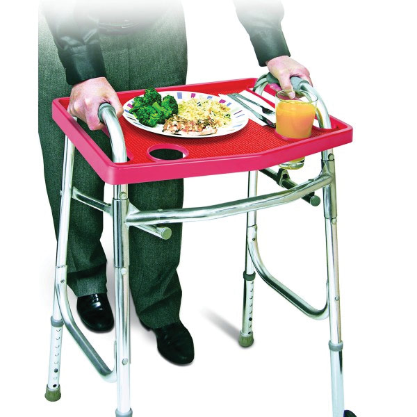 Walker Tray with Non-Slip Grip Mat