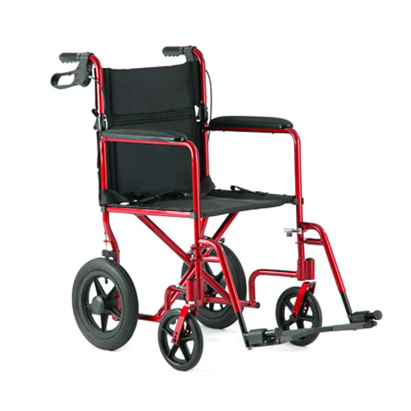 19 In Deluxe Aluminum Transport Chair - Red
