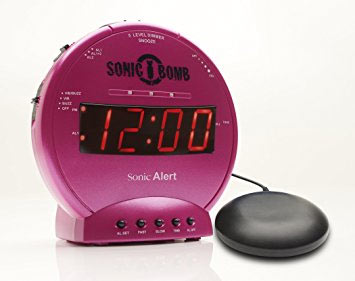 Sonic Bomb Alarm Clock and Bed Shaker- Pink
