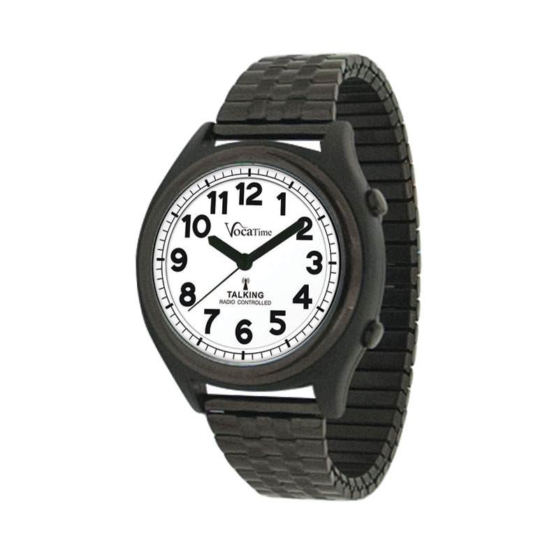 VocaTime Atomic Talking Watch - Black Metal Case with Expansion Band