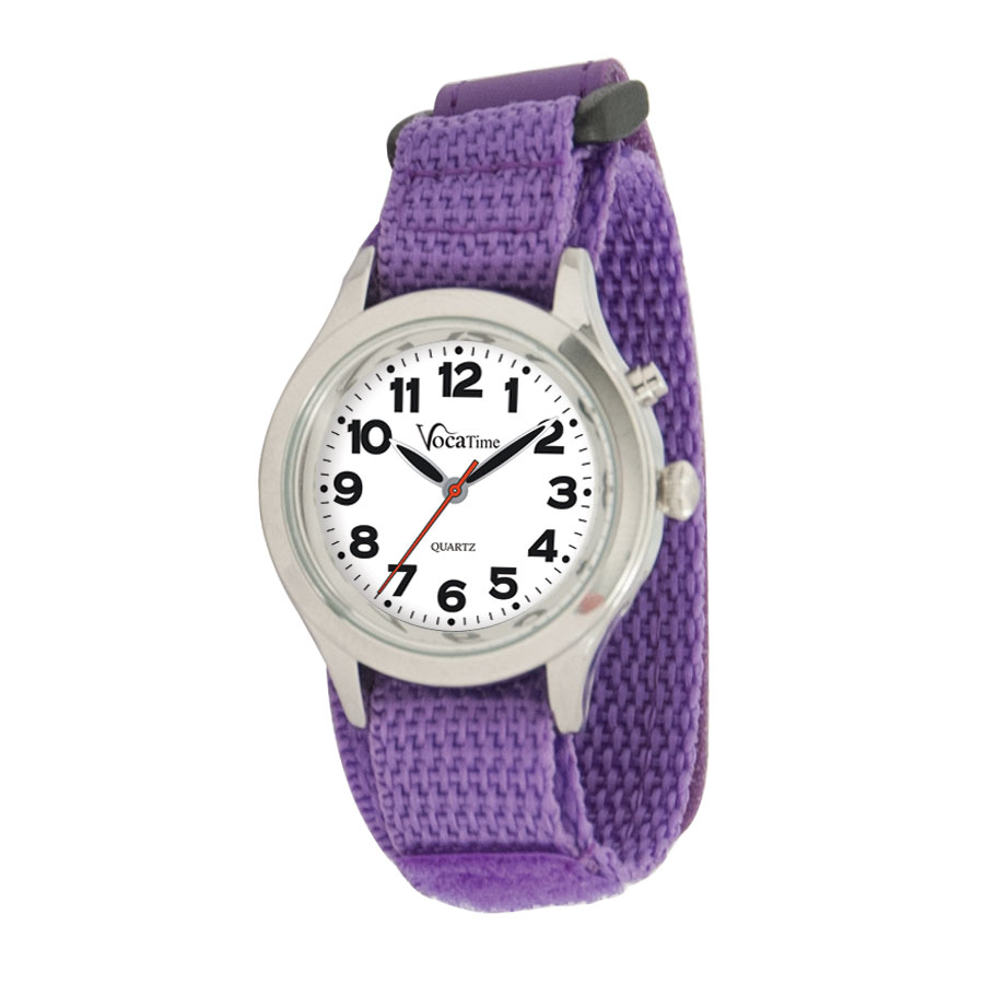 VocaTime Womens & Childrens Chrome Talking Watch Purple EZ Latch Band