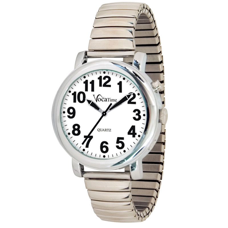 VocaTime Mens Chrome Talking Watch - Stainless Steel Expansion
