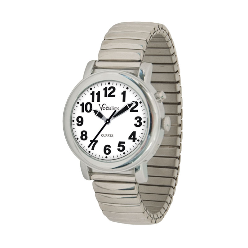 VocaTime Womens Chrome Talking Watch - Stainless Steel Expansion