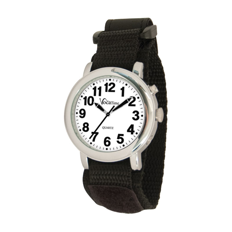 VocaTime Mens Chrome Talking Watch with Black EZ Latch Band